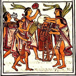 Aztec Culture Aztec Drums Florentine Codex.