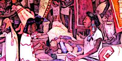 Azte Traders bartering on an Aztec Market