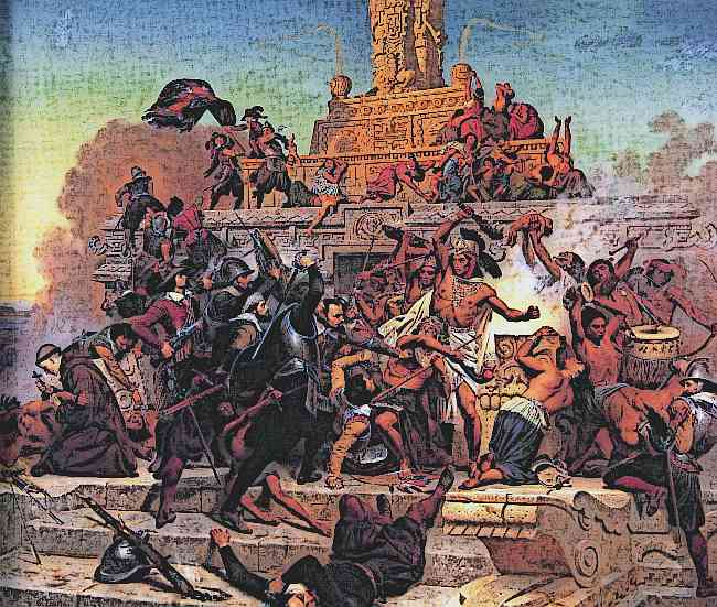 Hernan Cortes Storms the Aztec city of Teocalli